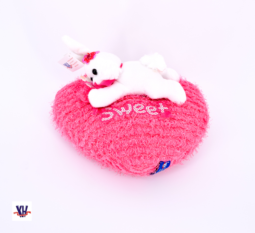 Heart pillow with rabbit